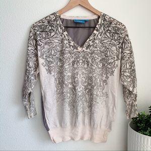 Simply Vera 3/4 sleeve v neck damask blouse